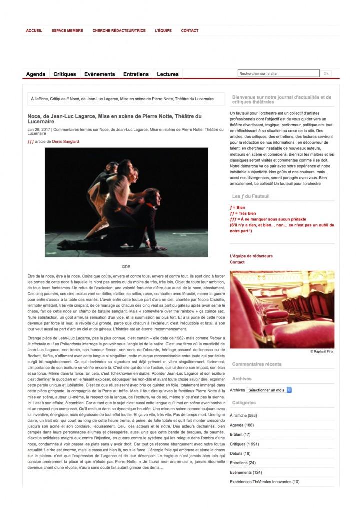 Un Fauteuil Pour l'Orchestre – Le site ...de Pierre Notte, Théâtre du Lucernaire